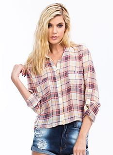 Plaid Chiffon Button-Up Top