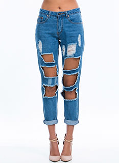 Squared Cut-Out Relaxed Jeans