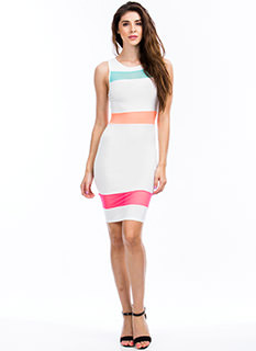 Mesh 'N Colorblock Bodycon Dress