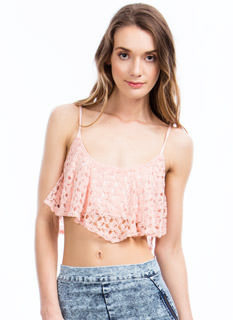 Get Ruffled Up Crochet Cropped Top