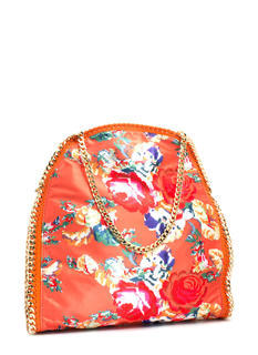 Floral Tapestry Print Chain Trim Bag