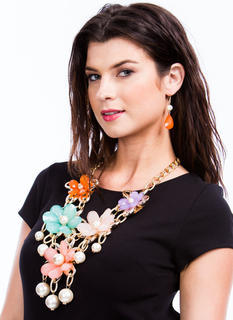 Giant Flower Faux Pearl Necklace Set