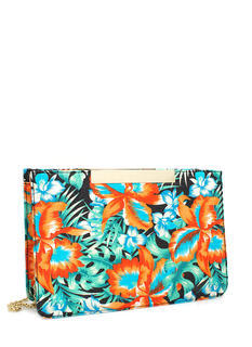 Tropical Floral Print Clutch
