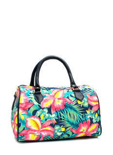 Tropical Floral Print Satchel
