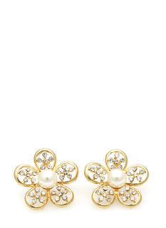 Faux Pearl Daisy Earrings