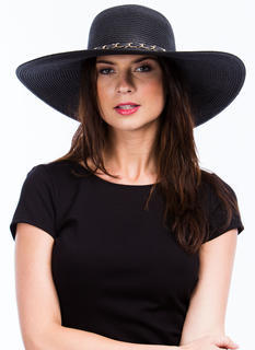 Chain Trimmed Wide Brim Hat
