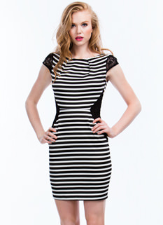 Laced In Stripes Bodycon Dress