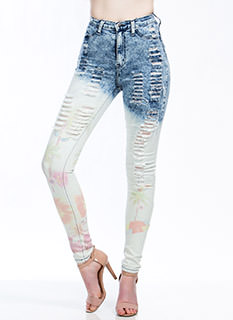 Summer Lovin' Destroyed Dip-Dyed Jeans