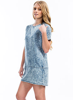 Acid Wash Denim Shift Dress