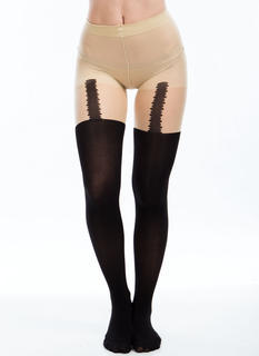 Garter Print Tattoo Tights