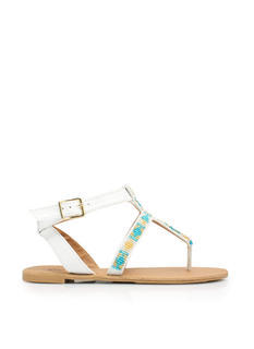 Bead Me To It Cross Strap Sandals