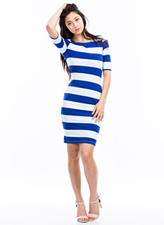 Nautical Striped Midi Dress