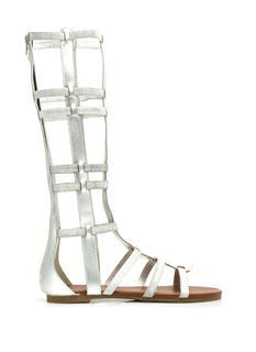 Metallic Windowpane Gladiator Sandals