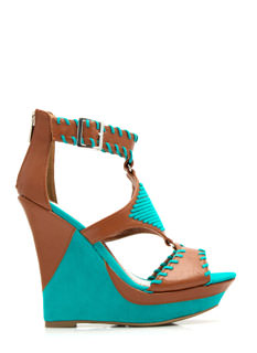 Ornamented Stitch Platform Wedges