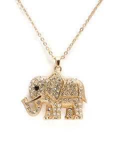 Jeweled Elephant Charm Necklace