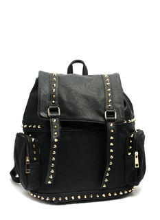 Faux Leather N Studs Drawstring Backpack