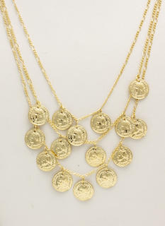 Roman Coin Charm Layered Necklace