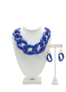 Chunky Coated Chain Necklace Set