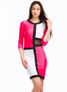 In Grid Demand Mesh Inset Dress