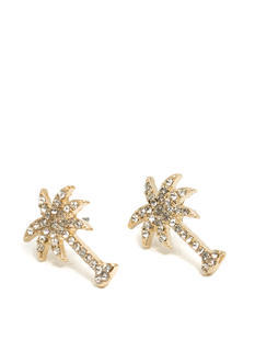 Rhinestone Palm Tree Earrings