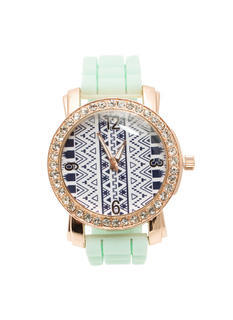Rhinestone Trim Tribal Silicone Watch