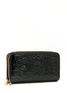 Embossed Floral Double Zip Wallet