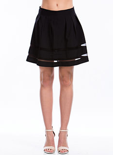 Sheer Striped Pleated Skirt