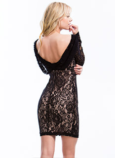 Blooming Lace Draped Back Dress