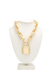 Padlock Charm Chain Necklace Set