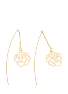 Cut-Out Rose Drape Thru Earrings