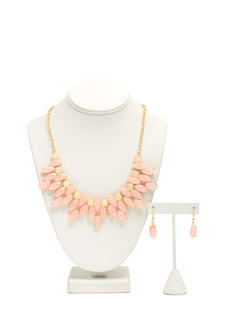 Multi-Layered Faux Jewel Necklace Set