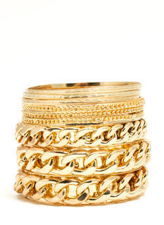 Mix Of Chains Bangle Set
