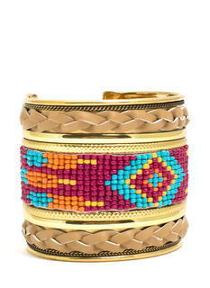 Braided N Beaded Tribal Cuff
