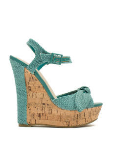 Bow Faux Cork Wedges