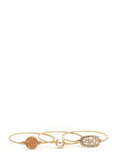 Faux Pearl N Plates Bangle Set