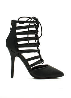 Ladder Up Strappy Pointy Laced Heels
