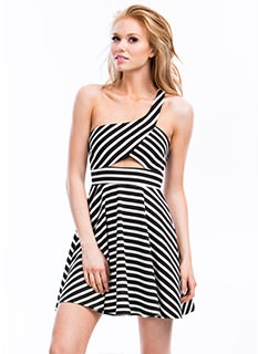 Striped One Shoulder Skater Dress