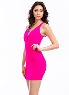 Plunging V Bodycon Dress