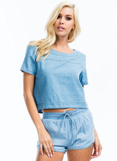 Play In Chambray Boxy Top