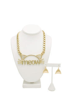 Cat Meow Necklace Set
