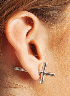 Sideways Cross Faux Plug Earrings