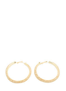 Netted Faux Jewel Hoop Earrings