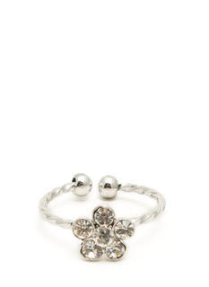 Jeweled Daisy Twisted Midi Ring