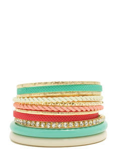 Textured N Embellished Bangle Set