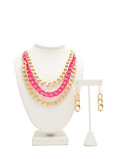 Neon N Metal Layered Necklace