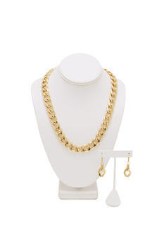 Simple Curb Link Chain Necklace Set