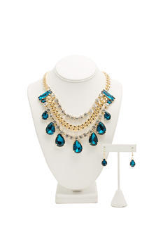 Faux Jewel Chain Bib Necklace Set