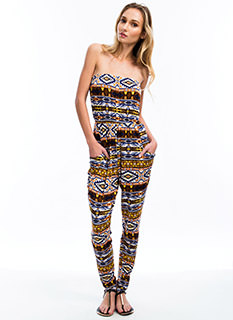 Strapless Tribal Jumpsuit