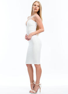 Plunging V Strapless Bodycon Dress