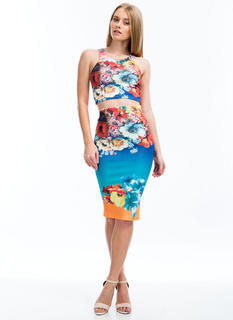Sea You Soon Floral Top And Skirt Set